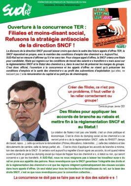 Ouverture à la concurence TER : refusons la stratégie antisociale de la SNCF !
