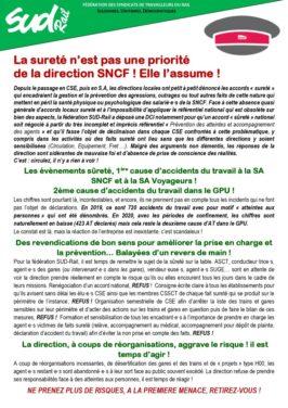 La DIRECTION SNCF assume que pour elle, la sûreté n'est pas une priorité !
