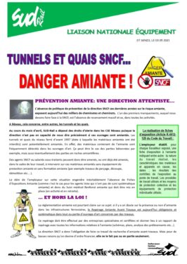 Tunnels et quais SNCF : ATTENTION DANGER AMIANTE !
