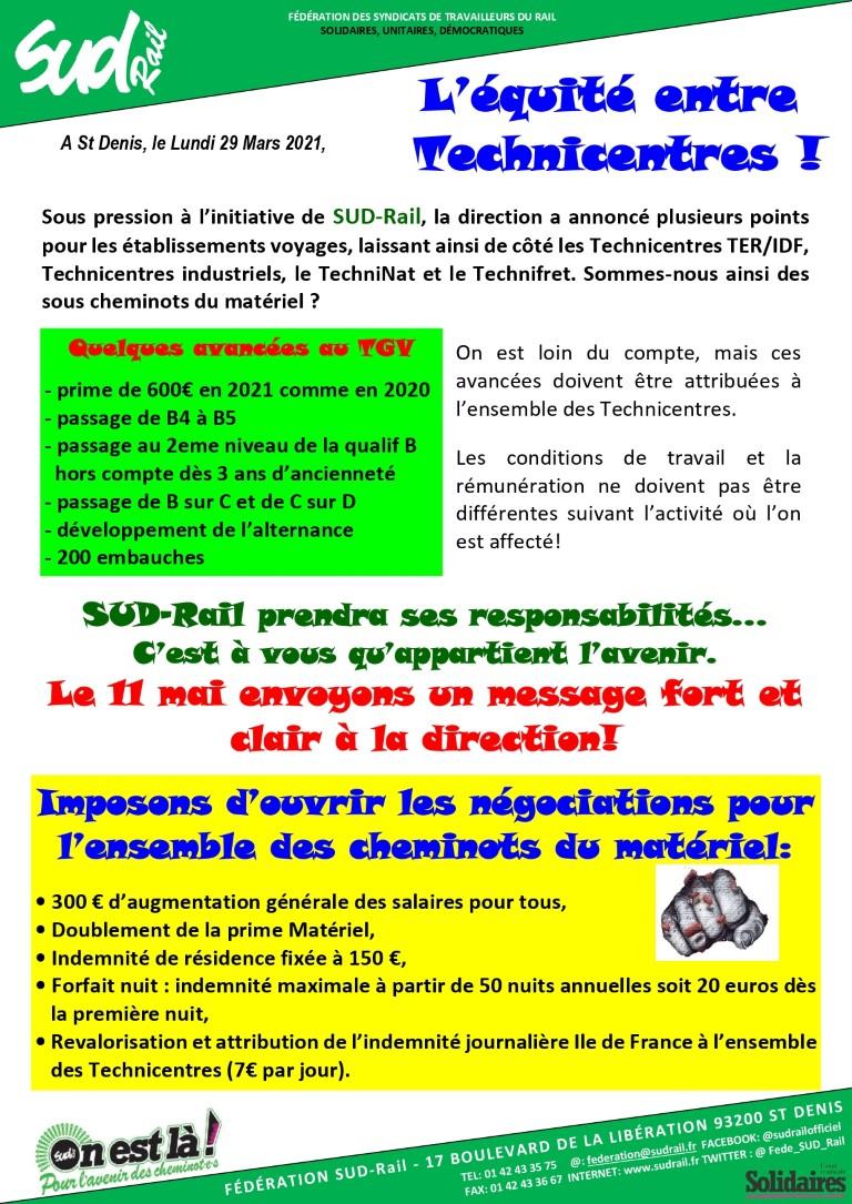 SUD-Rail exige l'équité entre technicentres ! Appel à la grève le 21 mai