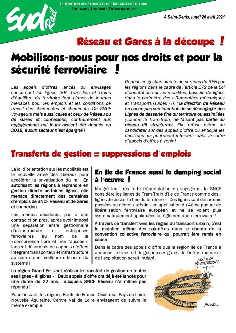 Réseau et gares à la découpe : moibilisons-nous pour nos droits et pour la sécurité ferroviaire !