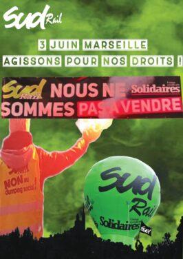 Rassemblement à Marseille le 3 juin 2021 contre le dumping social dans le ferroviaire