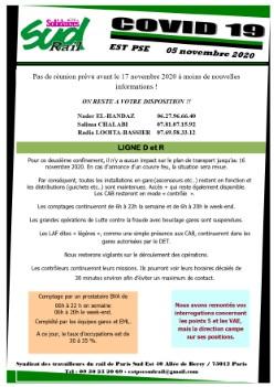 EST D&R : Infos COVID du 5 novembre