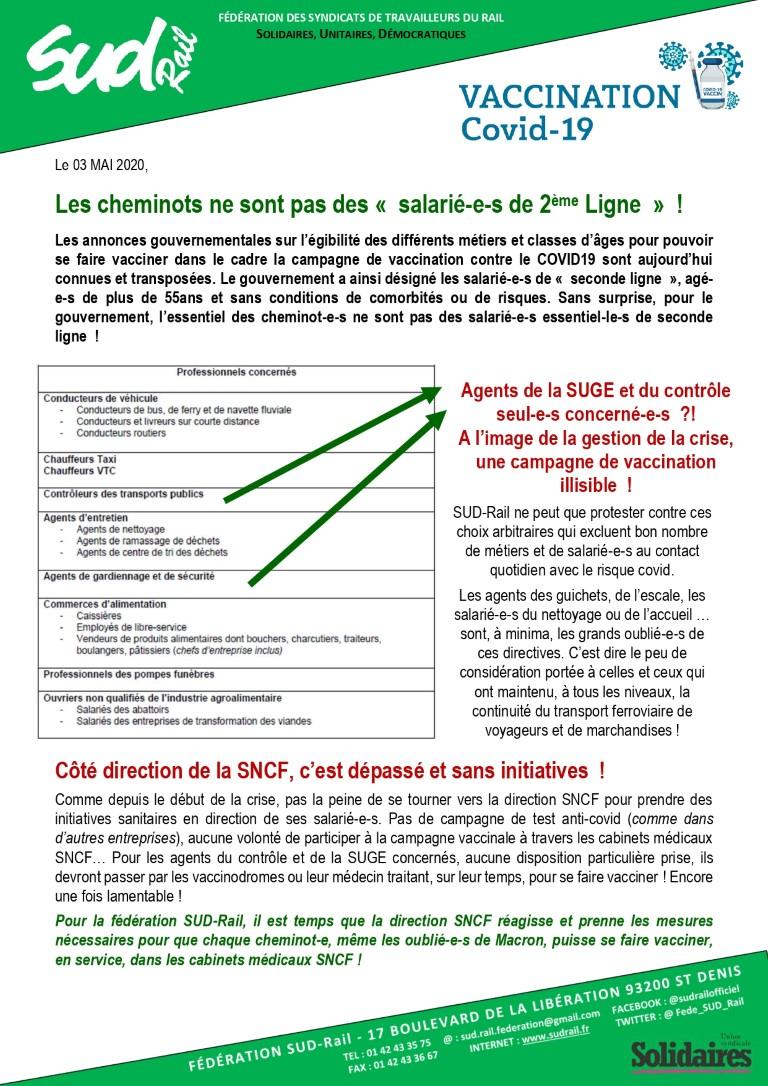 """Vaccination COVID-19 : Les cheminots ne sont pas des """"salarié-e-s de seconde ligne"""" !"""