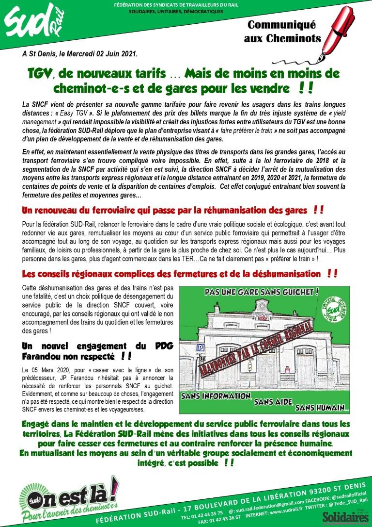 Nouveaux tarifs TGV : De moins en moins de cheminot-e-s et de gares pour les vendre !