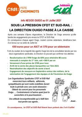 Sous la pression SUD-Rail et CFDT, la direction OUIGO passe à la caisse !