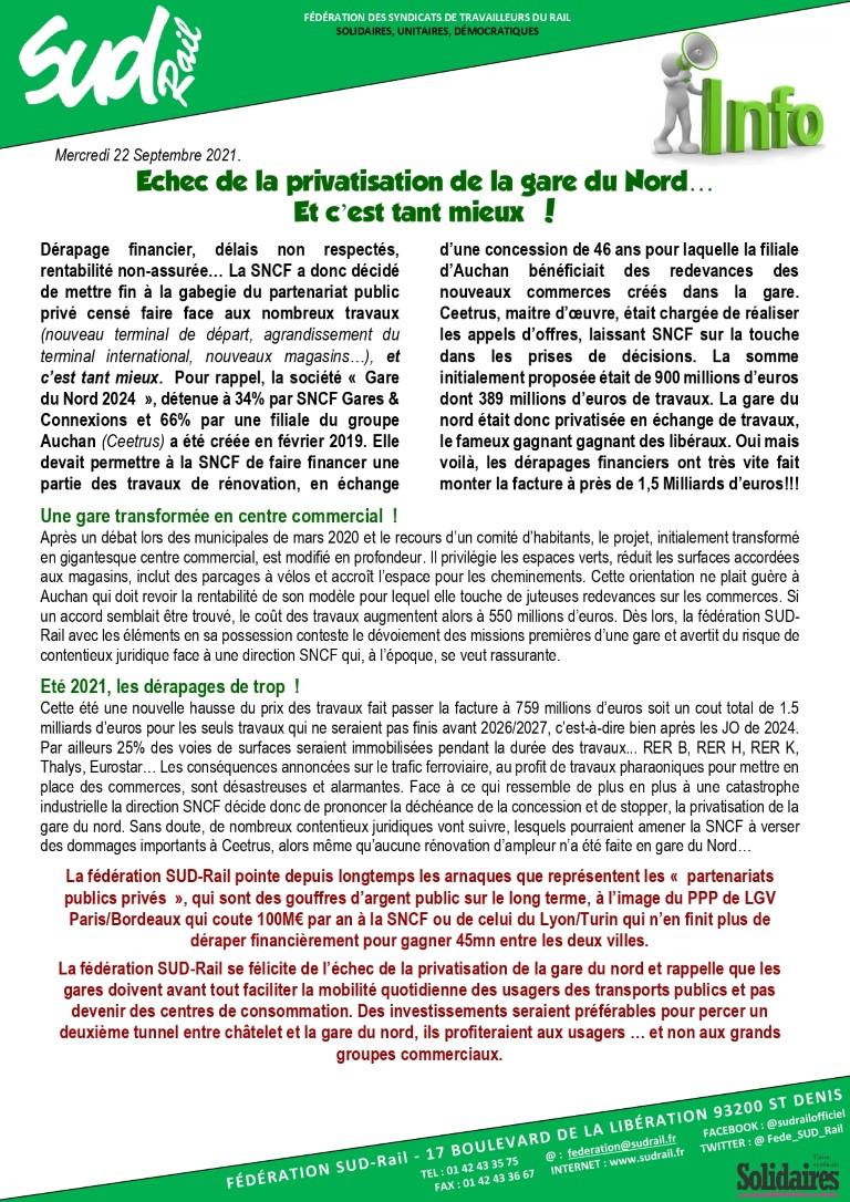 Echec de la privatisation de la Gare du Nord… Et c'est tant mieux !