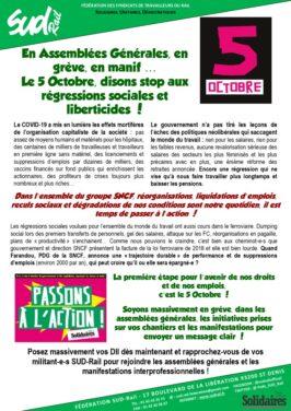 En Assemblées Générales, en grève, en manif … Le 5 octobre disons STOP aux régressions sociales et liberticides !
