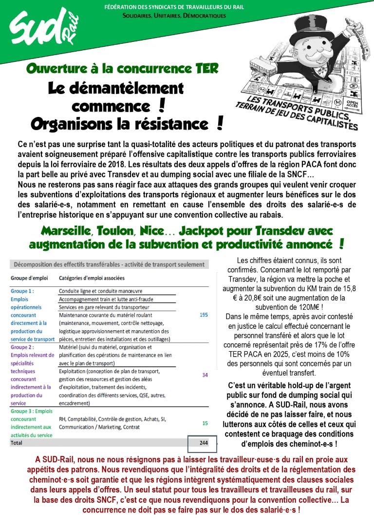 Ouverture à la concurence TER : le démantèlement commence, organisoins la résistance !