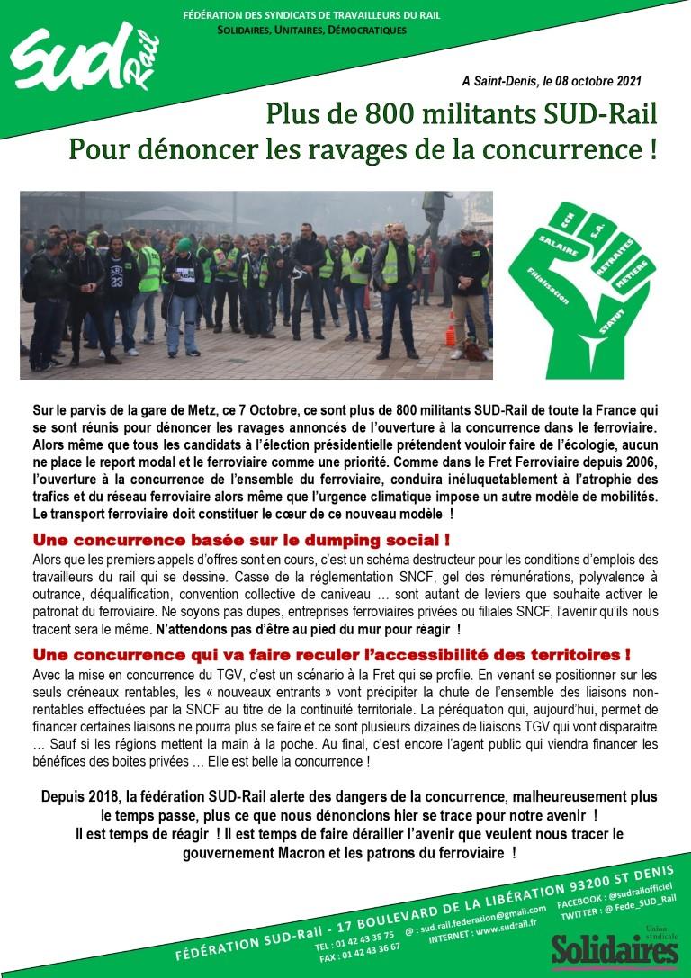 Metz : plus de 800 militants SUD-Rail pour dénoncer l'ouverture à la concurrence !