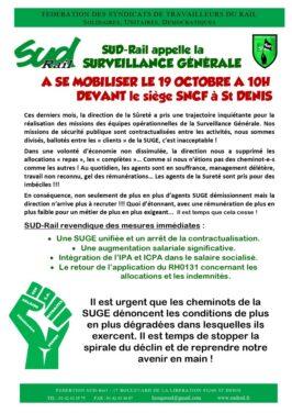 SUD-Rail appelle la Surveillance Generale à se mobiliser le 19 octobre à 10h devant le siège SNCF à Saint-Denis