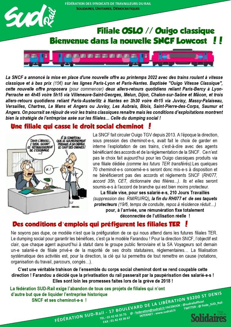 Filiale OSLO / OUIGO classique : Bienvenue dans la nouvelle SNCF lowcost !