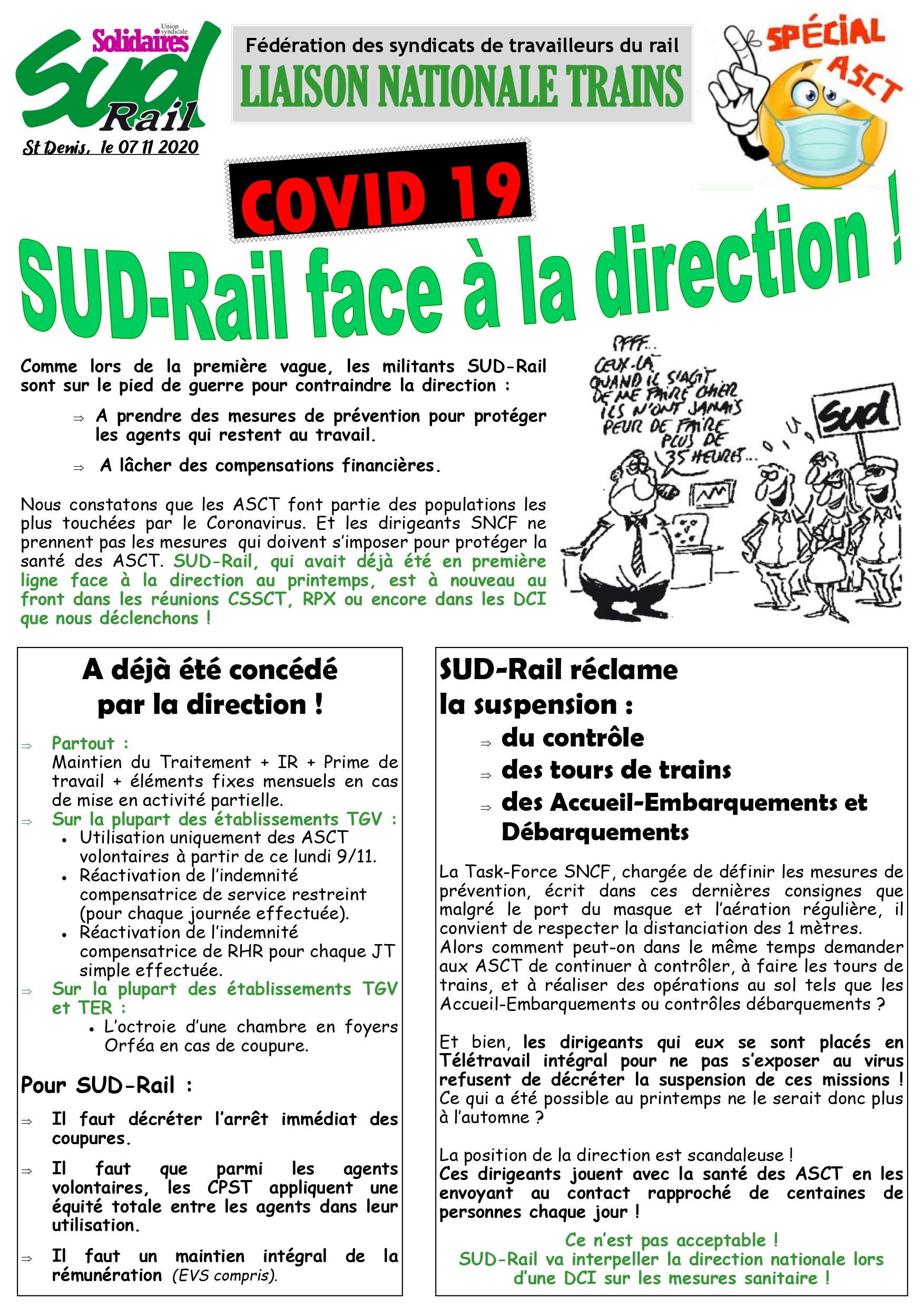 LN TRAINS : SUD-Rail réclame des mesures supplémentaires pour les ASCT face aux COVID