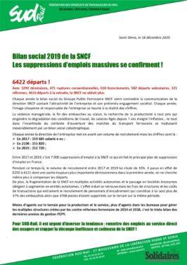 Bilan social 2019 de la SNCF :Les suppressions d'emplois massives se confirment !