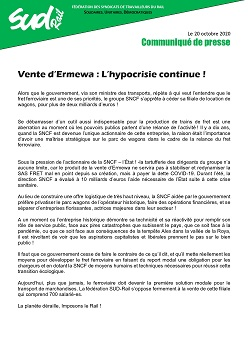 Communiqué de presse de la fédé SUD-Rail : Vente d'Ermewa, l'hypocrisie continue !