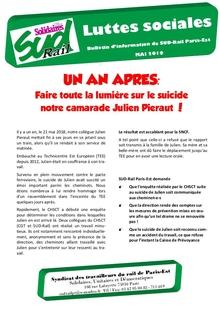 Un an après, faire toute la lumière sur le suicide notre camarade Julien Pieraut !