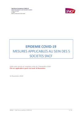 "Consigne COVID ""Task Force Groupe SNCF"" du 16 Novembre"