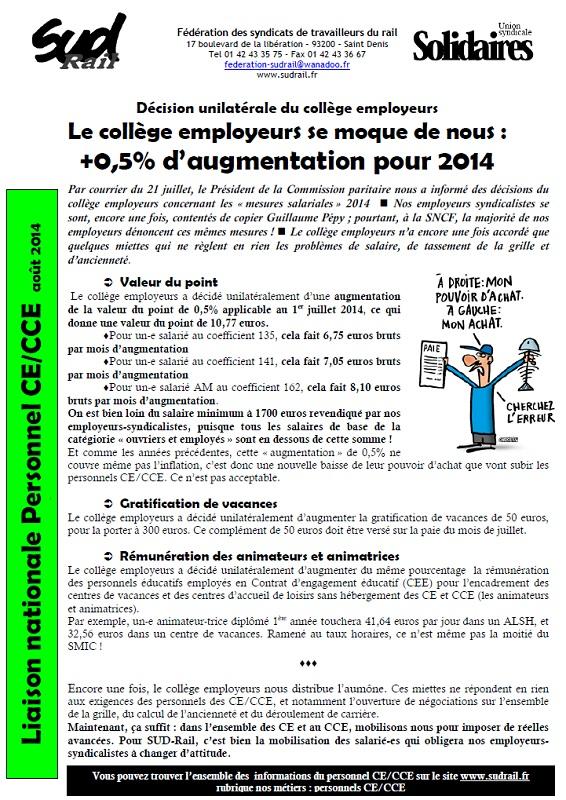 mesures salariales personnel CER 2014