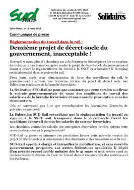Deuxième projet de décret-socle du gouvernement, inacceptable !