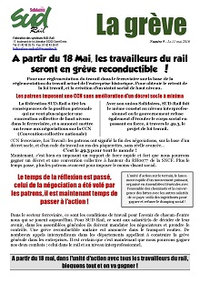 Grève reconductible à partir du 18 mai 2016