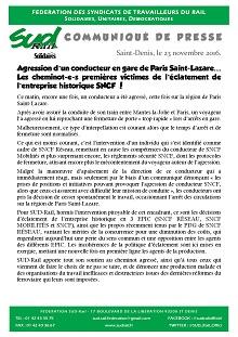 Agression d'un conducteur en gare de Paris Saint-Lazare