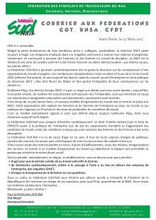 Suicides à la SNCF : SUD Rail écrit aux fédérations syndicales
