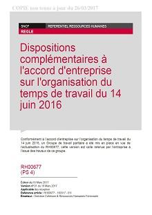 RH00677 – Dispositions complémentaires à l'accord d'entreprise