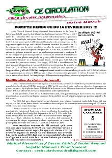 CE Circulation : Compte rendu CE du 16-02-2017