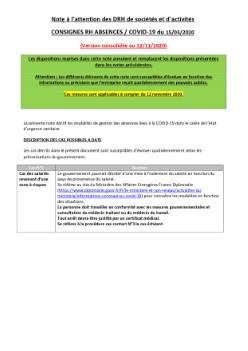 CONSIGNES RH ABSENCES / COVID-19 : Note à l'attention des DRH de sociétés et d'activités (a jour du 12/11/2020)