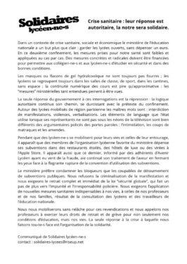 Solidaire Lycéen-es : Leur réponse au COVID est autoritaire, la notre sera solidaire