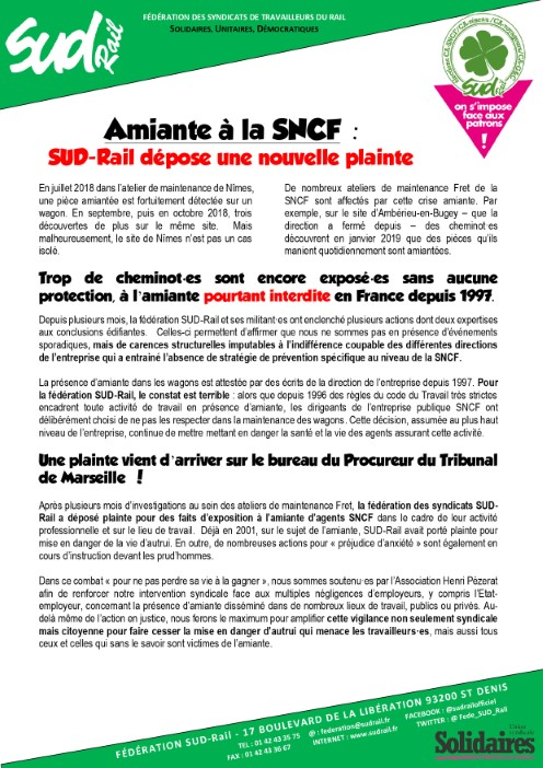 Amiante à la SNCF : SUD-Rail dépose une nouvelle plainte