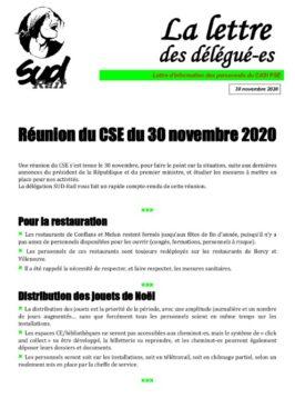 La Lettre des Délégués : CSE du 30-11-20