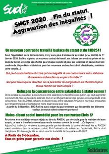 SNCF 2020… Fin du statut, aggravation des inégalités !