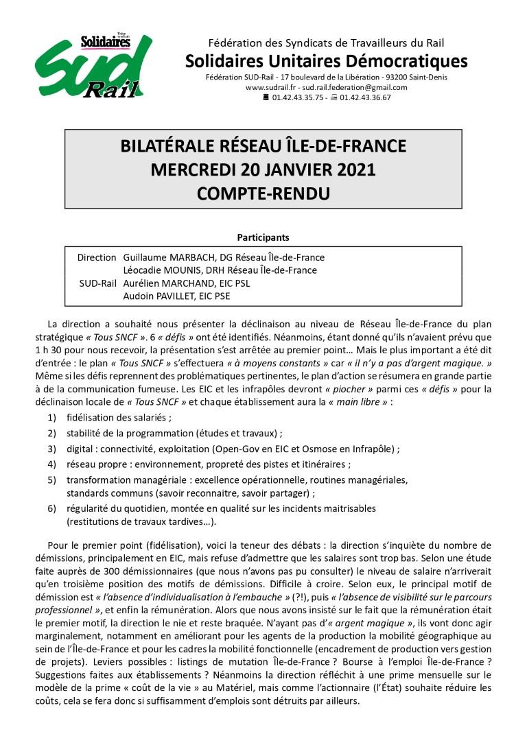 Bilatérales SUD-Rail / DG Réseau IdF