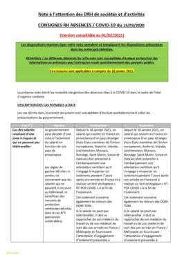 Consigne RH/Absences COVID 19 (version consolidée du 01-02-2021