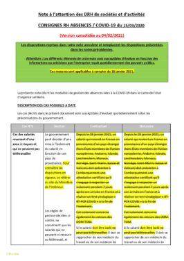 Consigne Gestion des absences COVID19 (version du février 2021)