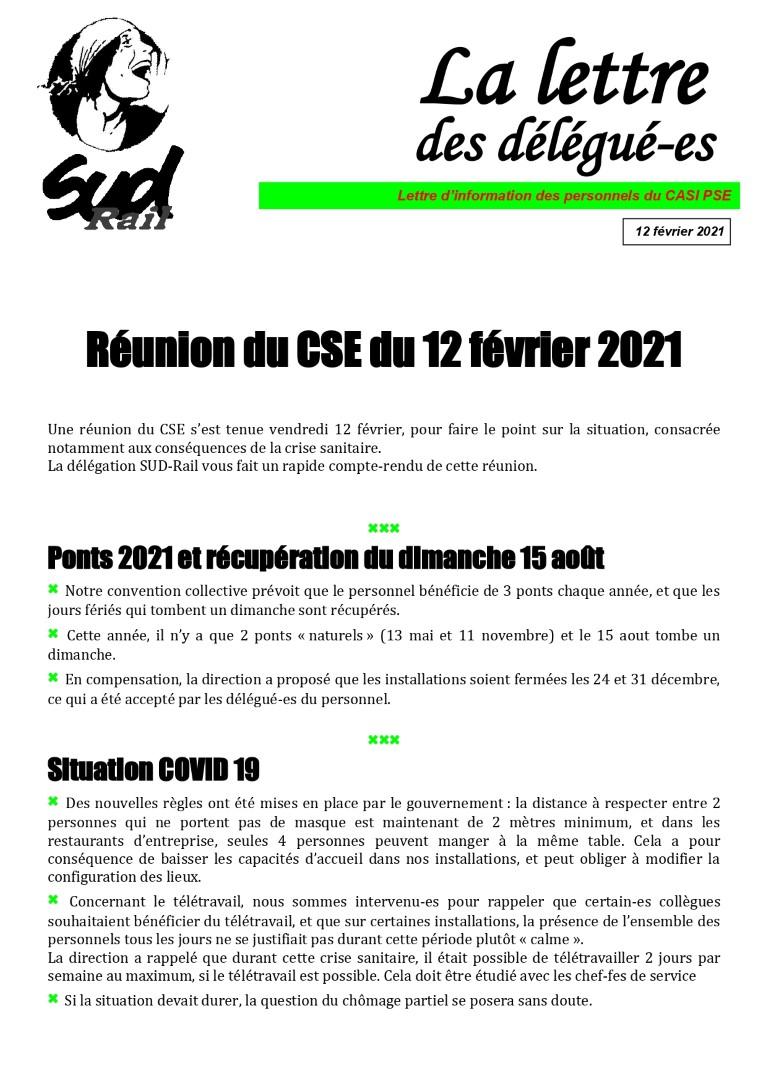La lettre des délégué-e-s : CSE du 12 février 2021