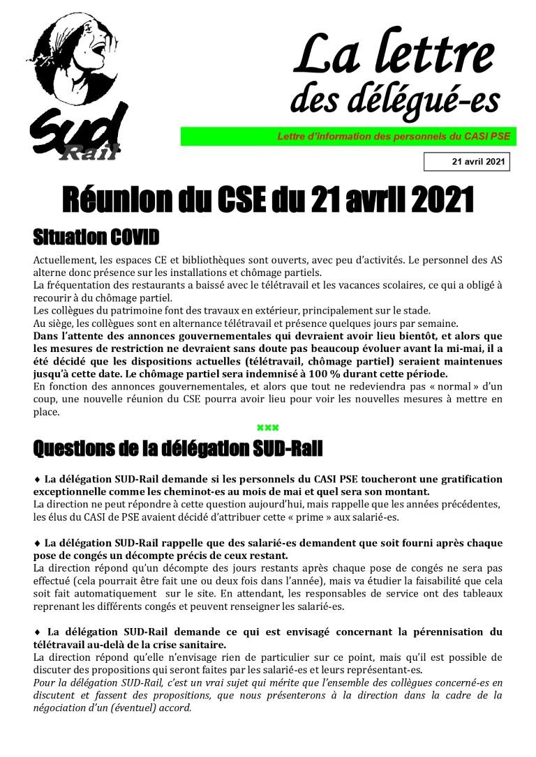 Réunion du CSE du 21 avril 2021