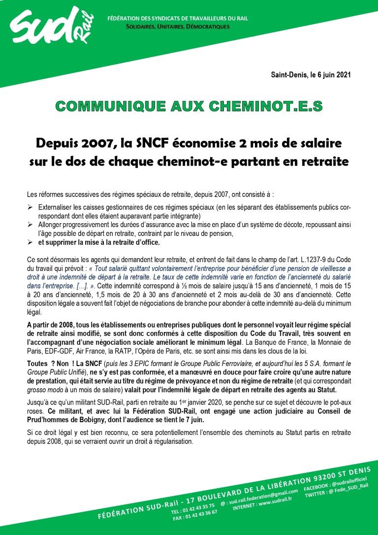Depuis 2007 la SNCF économise 2 mois de salaire sur le dos de chaque cheminot partant en retraite. Un militant SUD-Rail attaque au Prud'homme