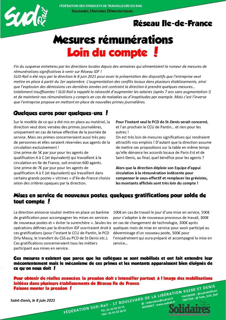 Mesures rémunérations pour les agents Réseau Ile de France : Loin du compte !
