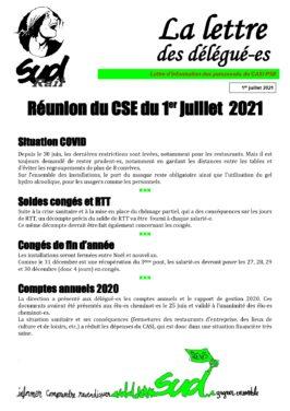 La lettre des délégués : CSE du 1er juillet 2021