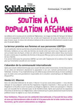 SOUTIEN A LA POPULATION AFGHANE