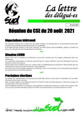 La lettre des délégués : CSE du 20 aout 2021