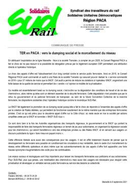 TER en PACA : Vers le dumping social et le morecllement du réseau