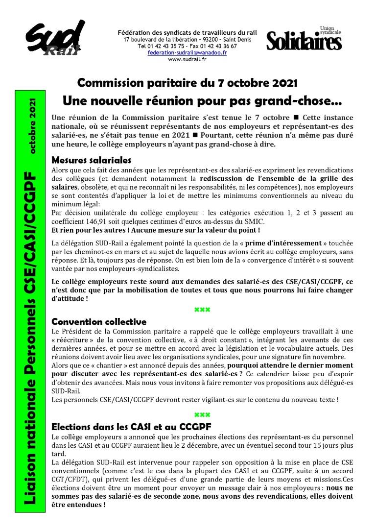 Commission paritaire du 7 octobre 2021 : une nouvelle réunion pour pas grand-chose….