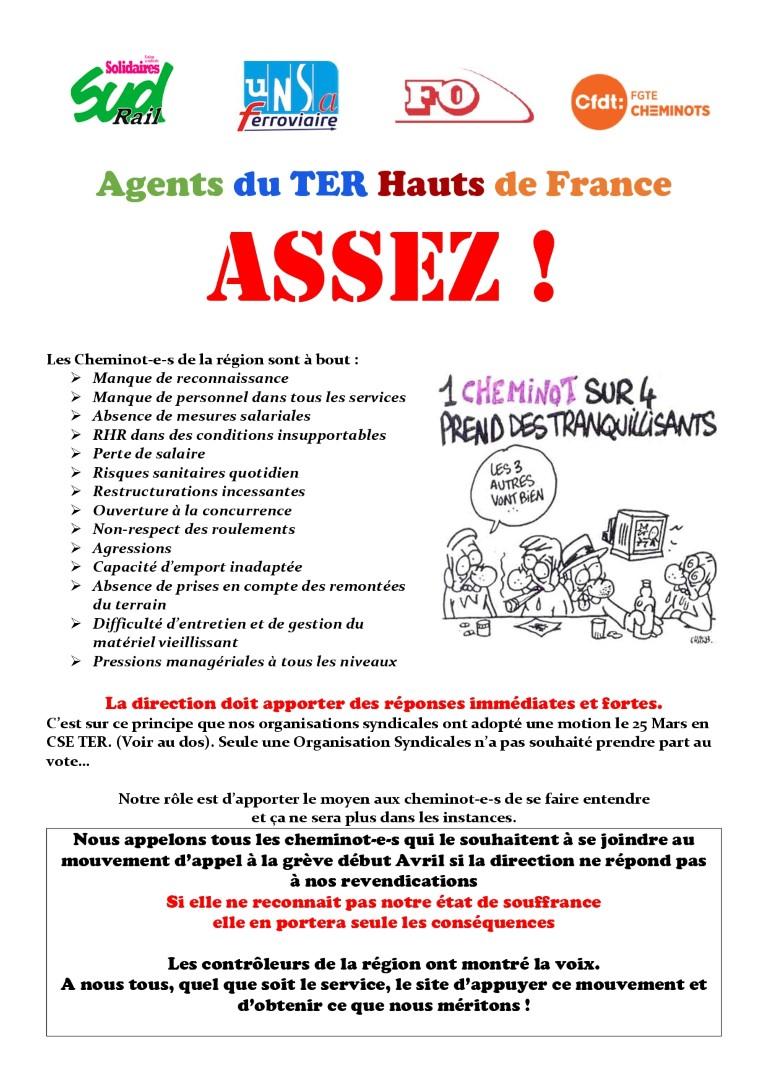 Agents du TER Hauts-de-France : ASSEZ !
