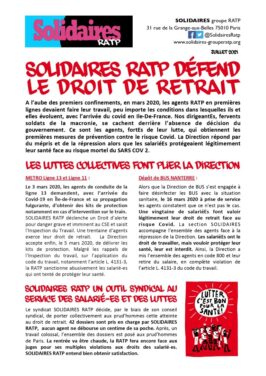 Solidaires RATP défend le droit de retrait