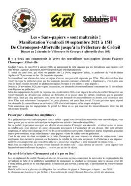 Les « Sans-papiers » sont maltraités ! Manifestation Vendredi 10 septembre 2021 à 15H Manifestation Vendredi 10 septembre 2021 à 15H