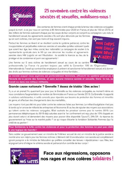 Le 25 novembre : Tous mobilisés contre les violences sexistes et sexuelles !