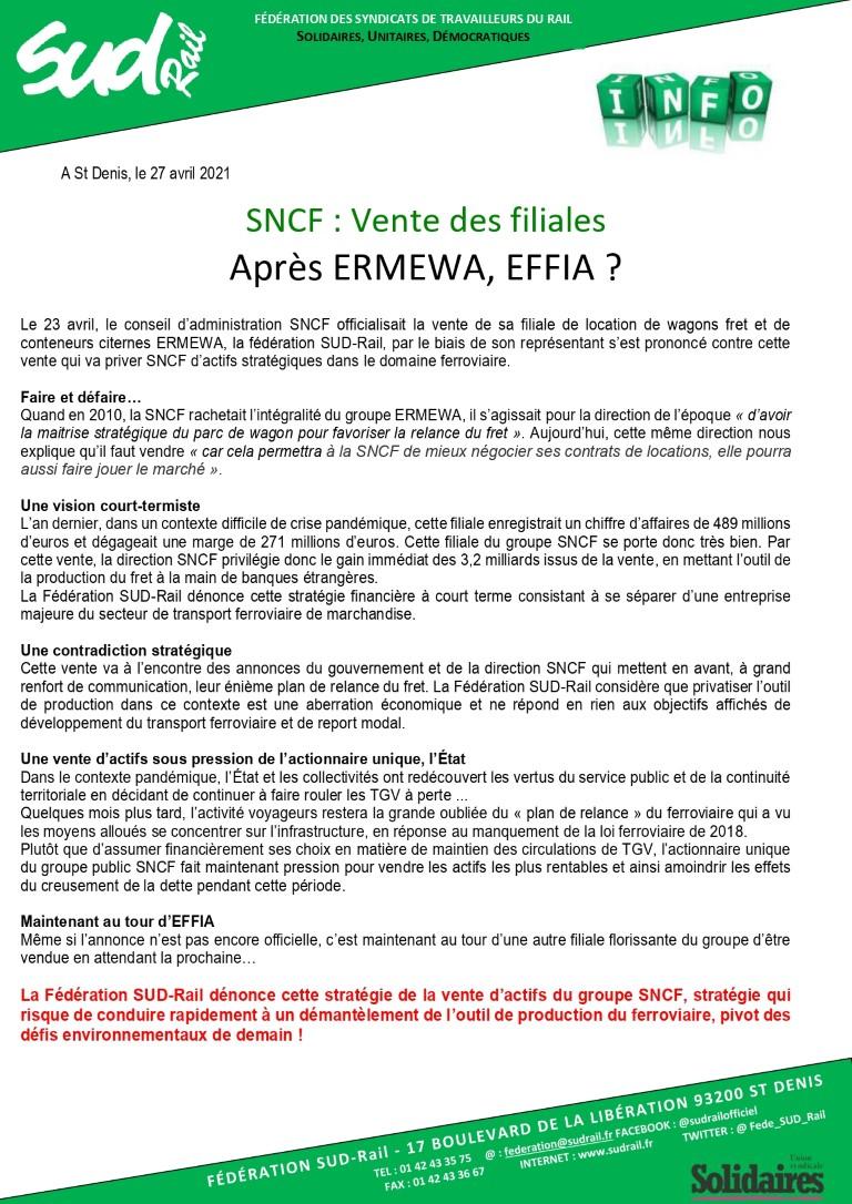 Vente de filliales SNCF : après ERMEWA, EFFIA ?